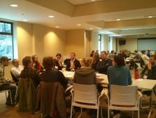 Roundtable discussions (yes, at rectangular tables...)