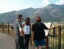 Jim Hallett (Eastern Washington U), Cara Nelson (U Montana - Missoula & Chair of Society for Ecology Restoration), Peggy O'Connell (Eastern Washinton U) at Milltown SP just outside Missoula